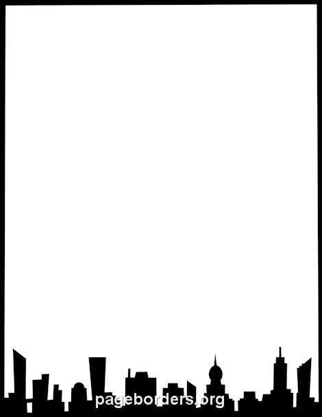 Skyline clipart border. City black and white