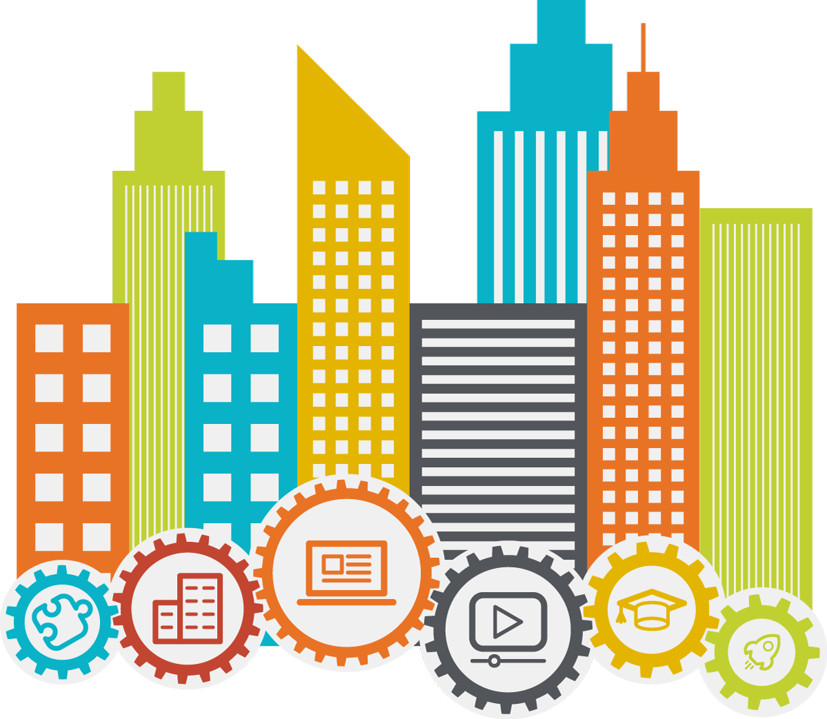 Cityscape clipart building infrastructure. Learn facilities management skills