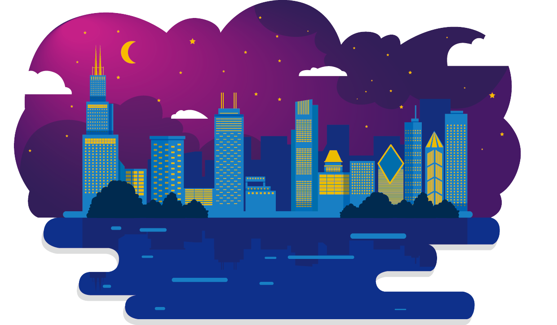 Egypt clipart skyline. Chicago night city illustration