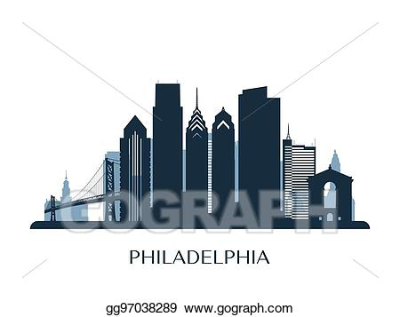 Cityscape clipart skyline philadelphia. Vector illustration monochrome