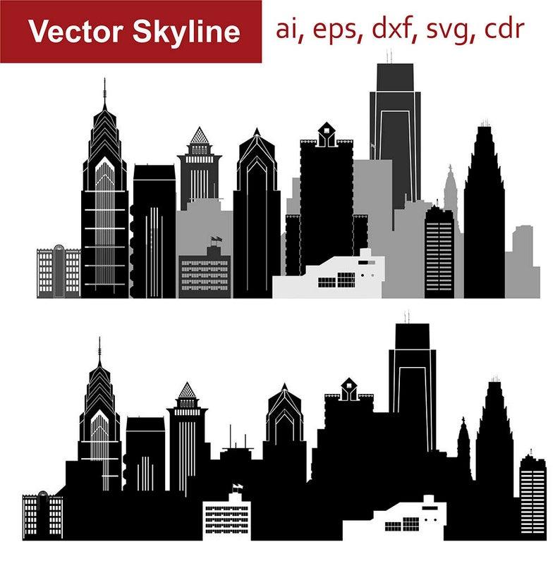 Svg pennsylvania city vector. Cityscape clipart skyline philadelphia