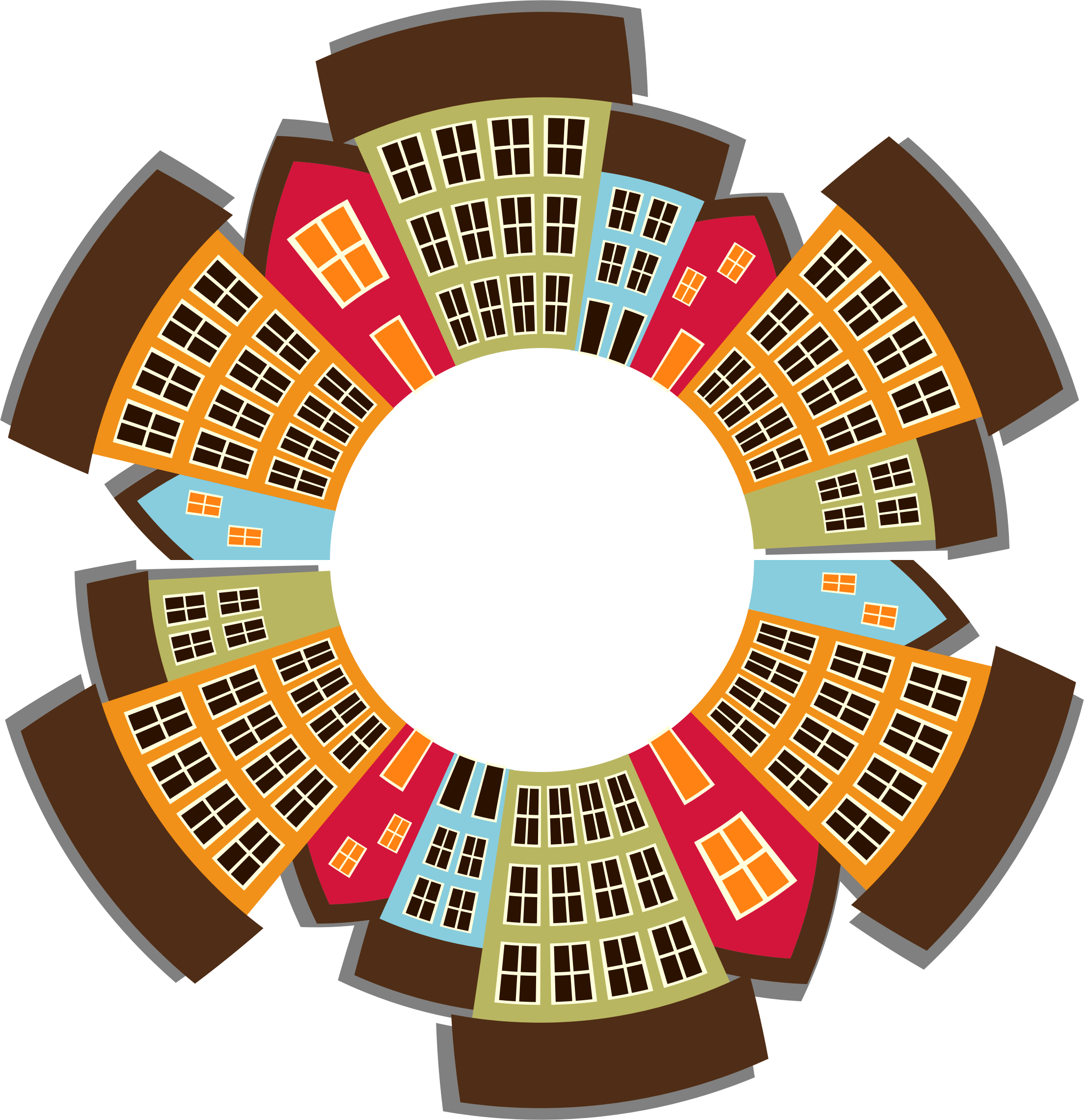 Holidays clipart casino. Small town cityscape radial
