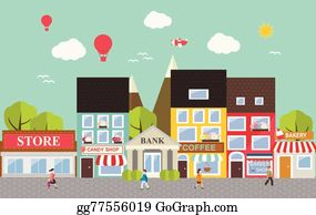 Neighborhood clipart small town. Clip art royalty free
