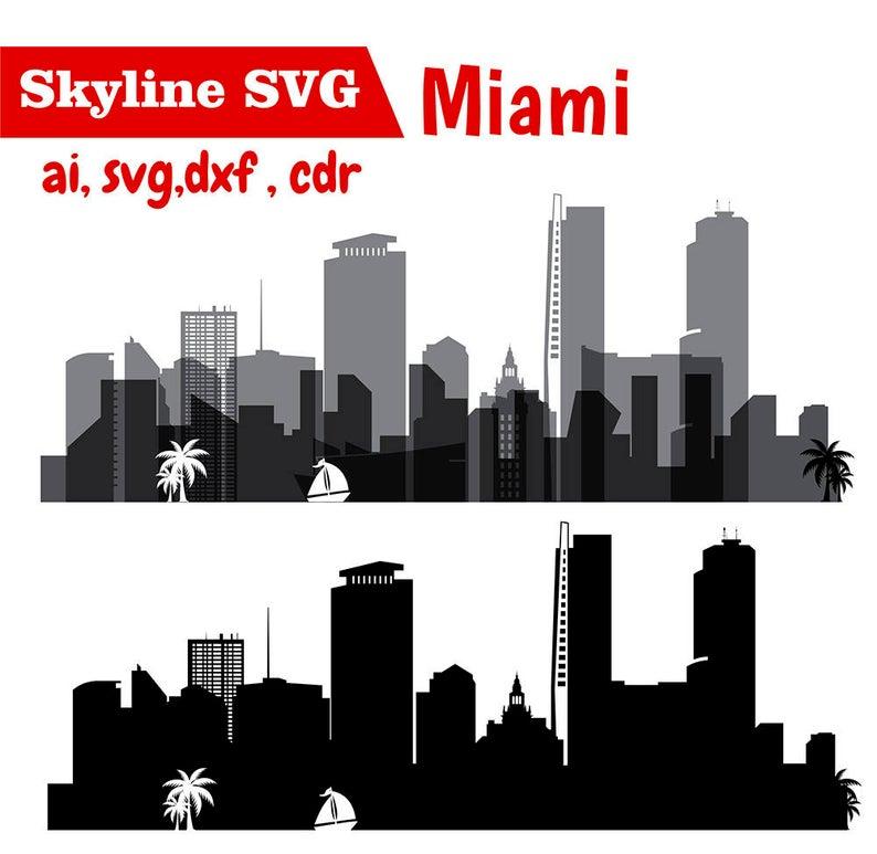 Cityscape clipart svg. Miami city vector skyline