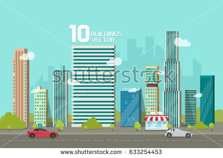 City buildings along road. Cityscape clipart urban street
