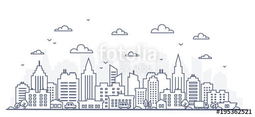 Cityscape clipart urban street. Thin line style city