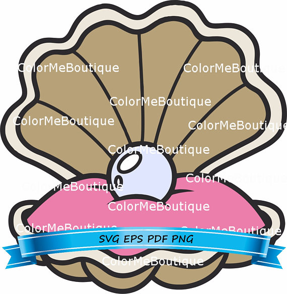 Clam clipart. Shell w pearl from