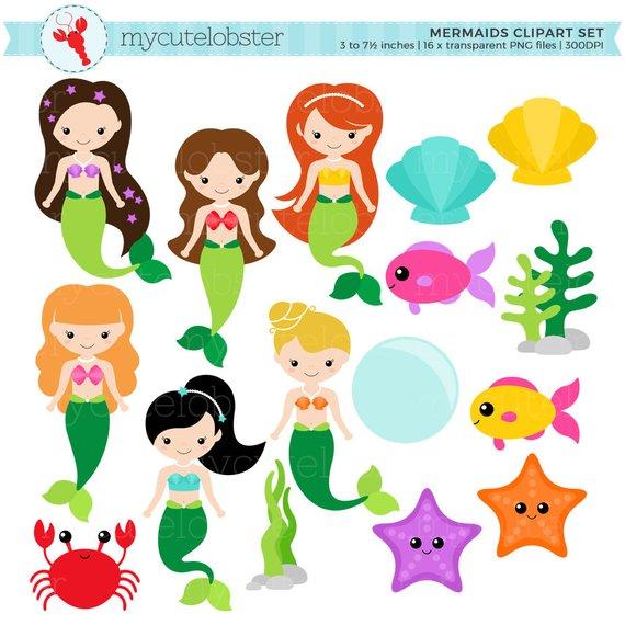 Mermaids set clip art. Clam clipart aoyagi