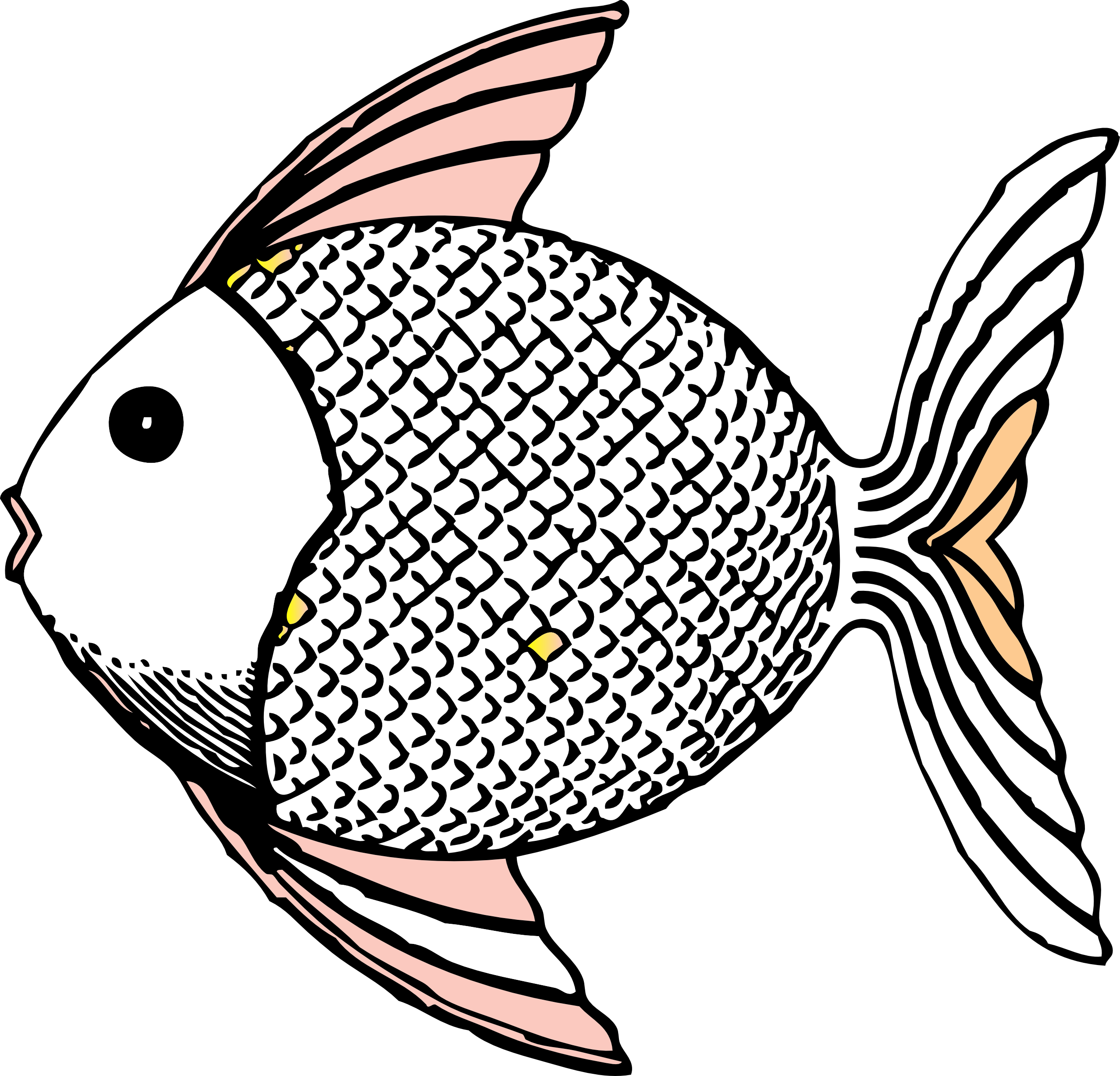 Fish clip art tropical. Fridge clipart black and white