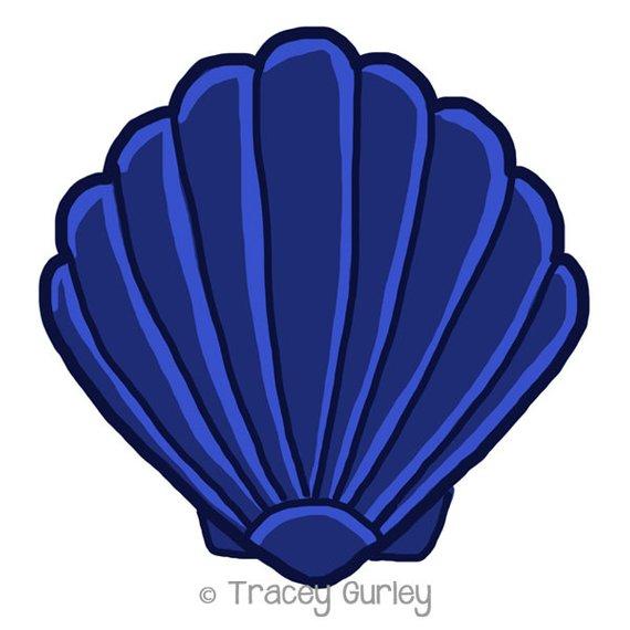 Shell clipart blue sea. Navy scallop original art