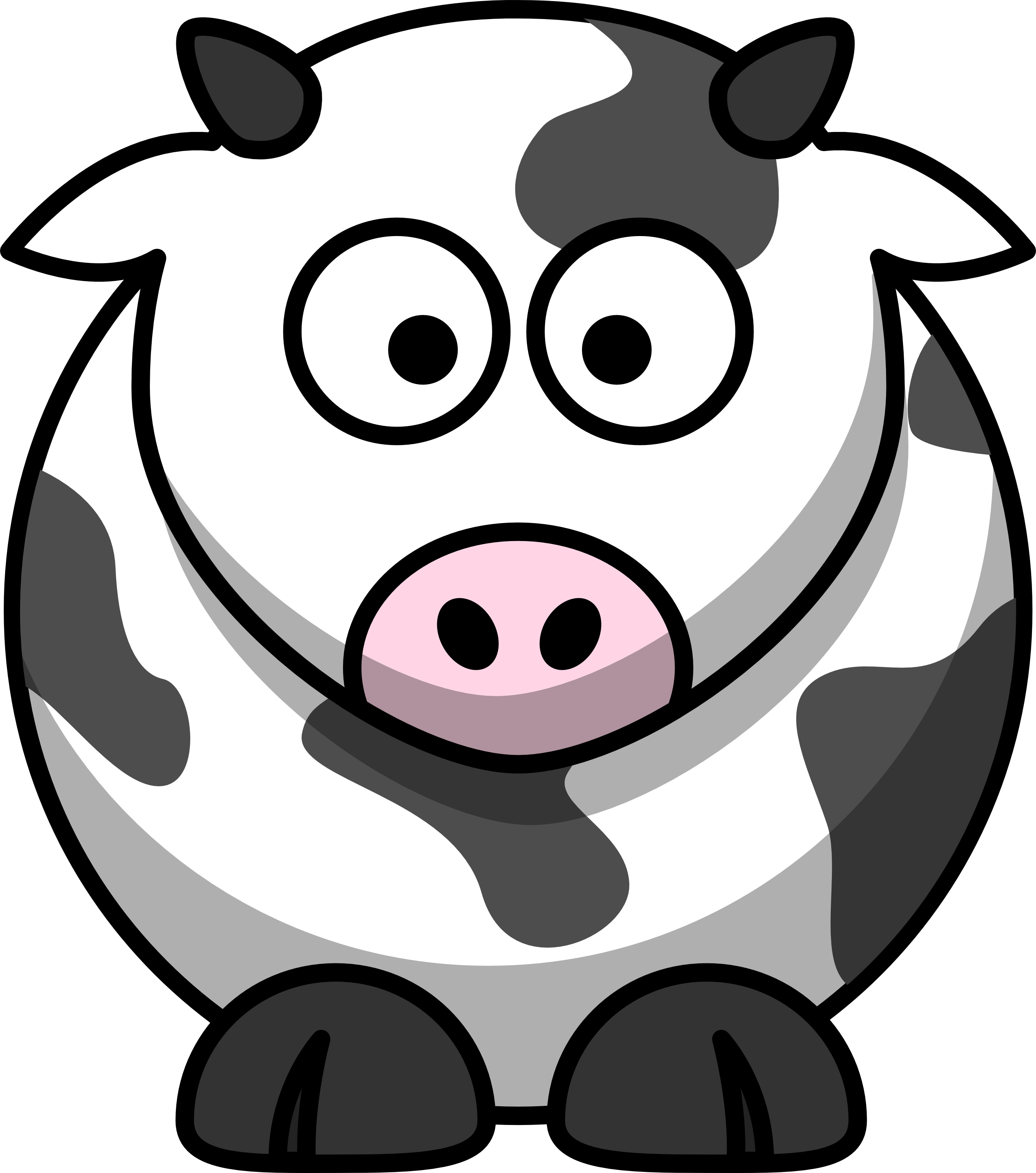 Cartoon animals black and. Clipart cow body