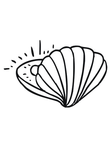 With pearl free printable. Clam clipart coloring page