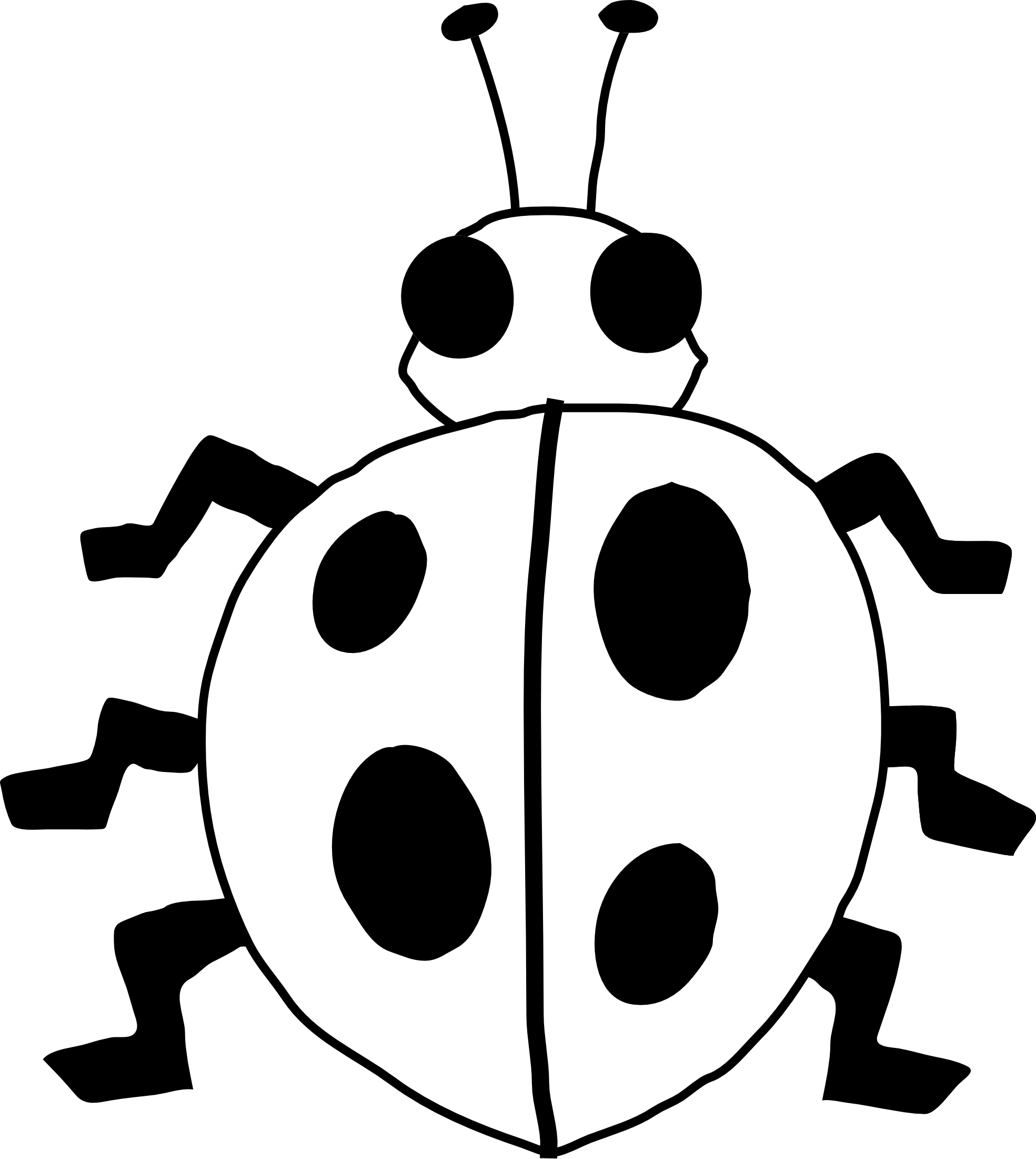 Squid black and white. Ladybug clipart border