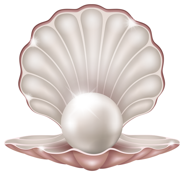 Beautiful clam with pearl. Young clipart baby bum