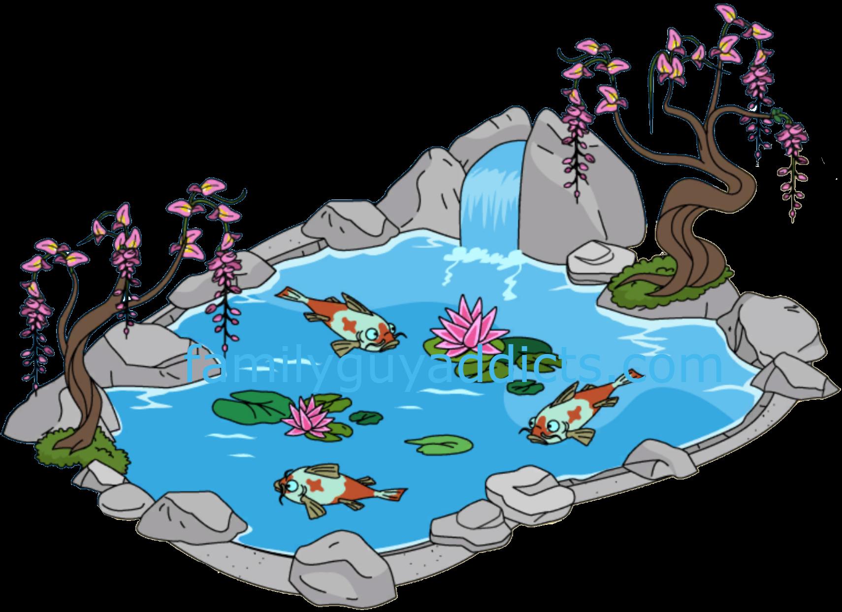 Lake clipart koi pond. Splashy family guy addicts