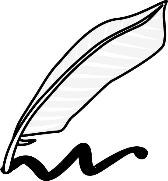 Pencil clipart feather. Writing clip art black