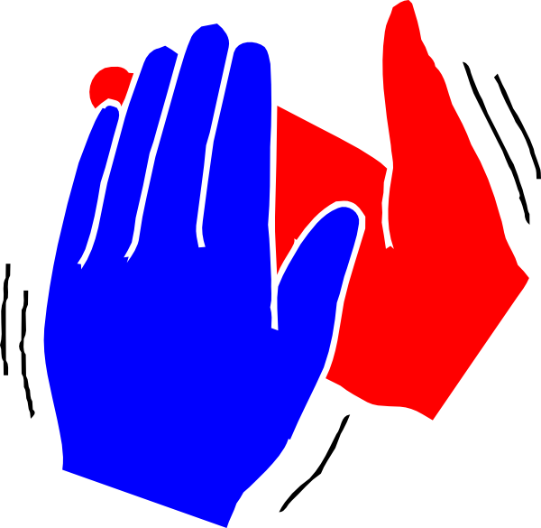Group blue and red. Young clipart clapping