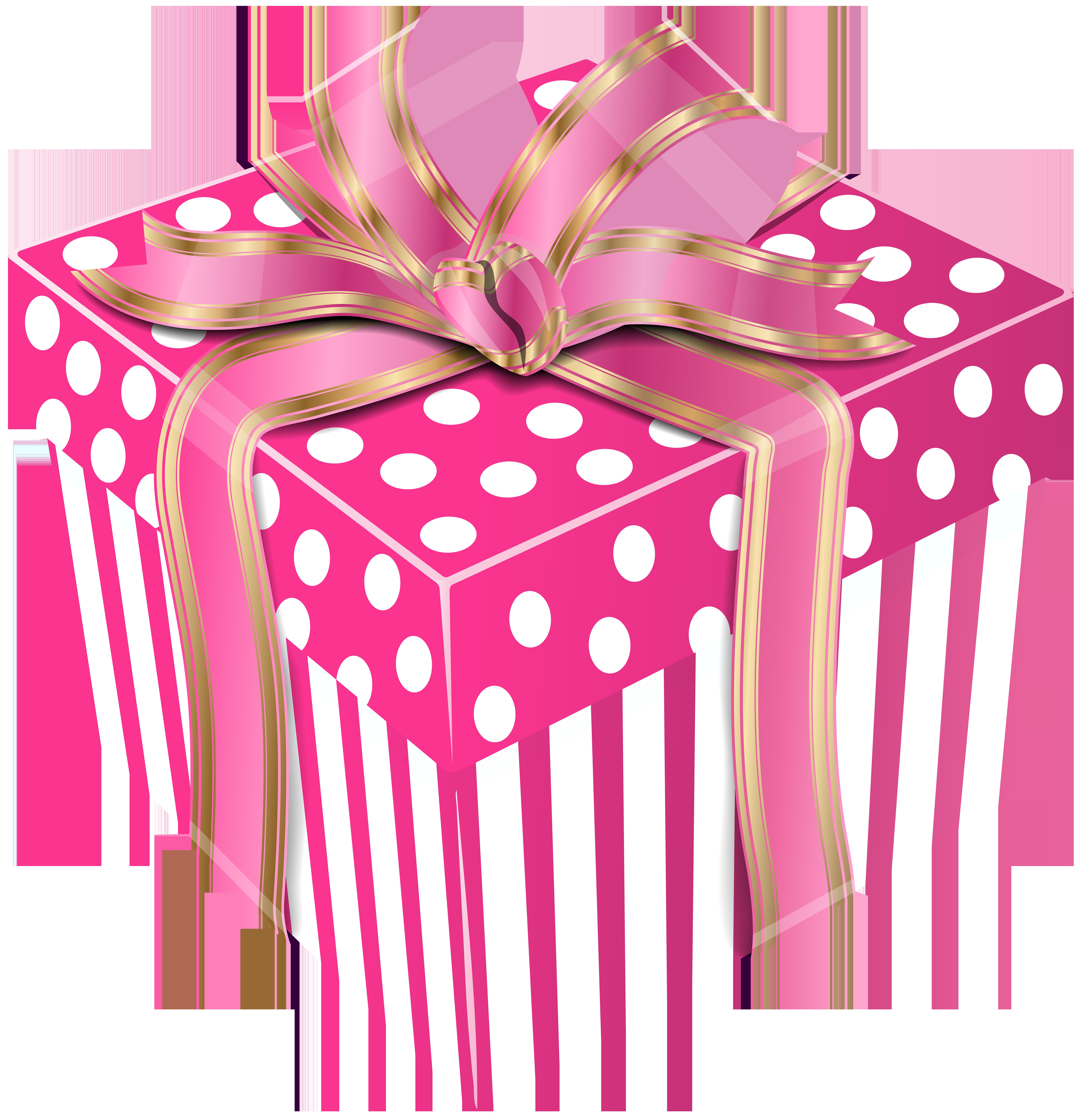 Clipart present polka dot. Pink gift graphics illustrations