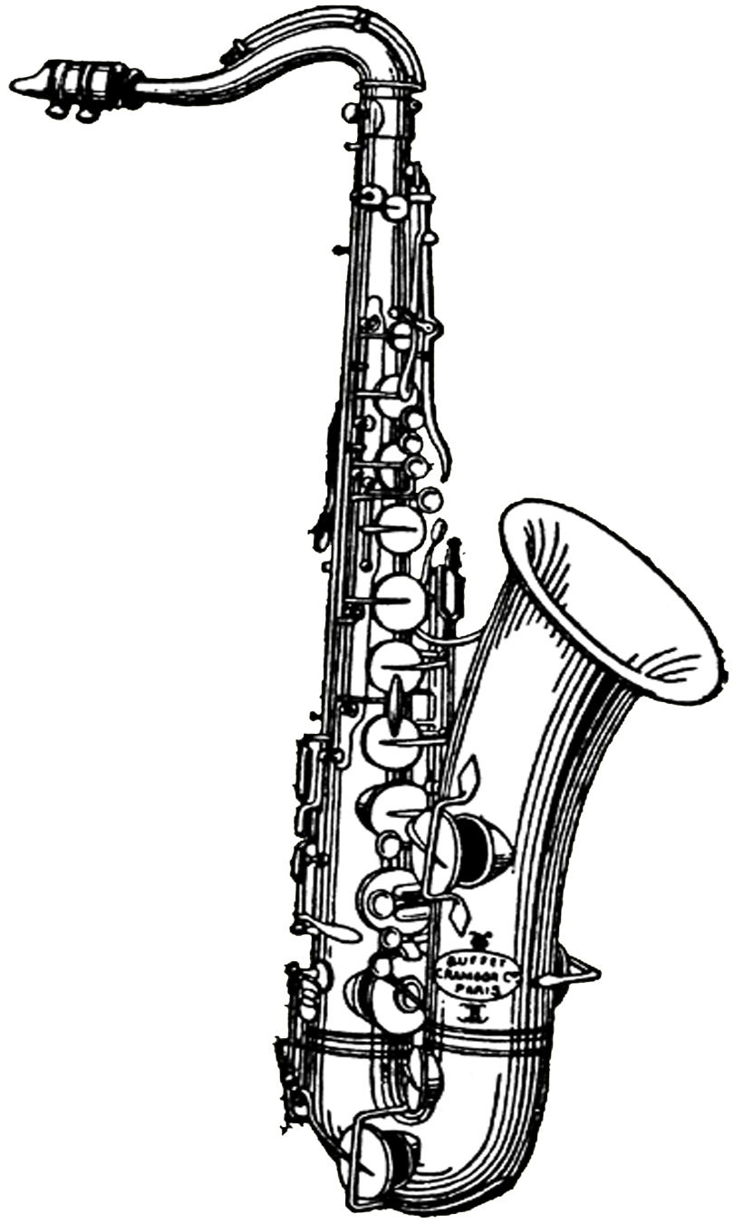 Saxophone illustration transparent png. Clarinet clipart black and white