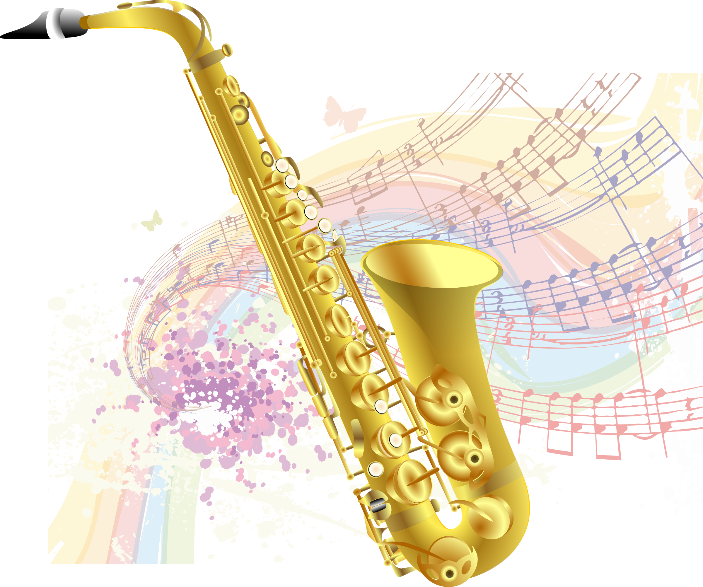 Clarinet clipart small. Saxophone with music background