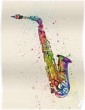 Clarinet clipart watercolor. Saxophone abstract poster by