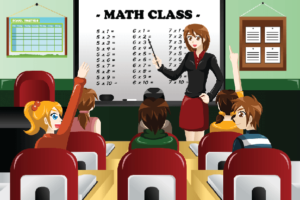 Class clipart. Teacher and student in
