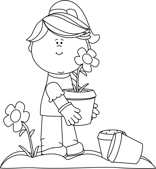 Wow clipart black and white. Clip art girl planting