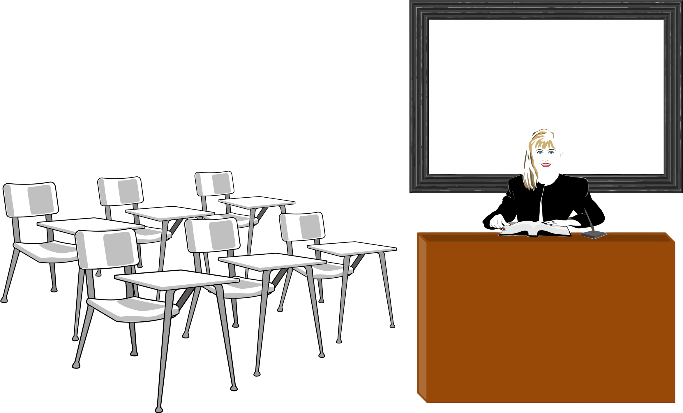 Teacher in big image. Desk clipart classroom full