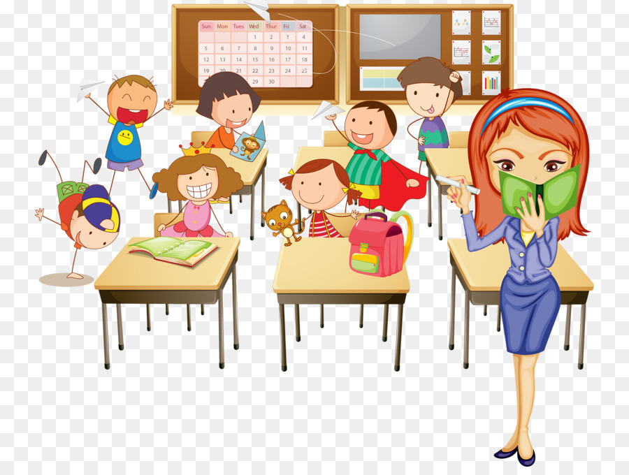 Cartoon classroom teacher . Study clipart in school
