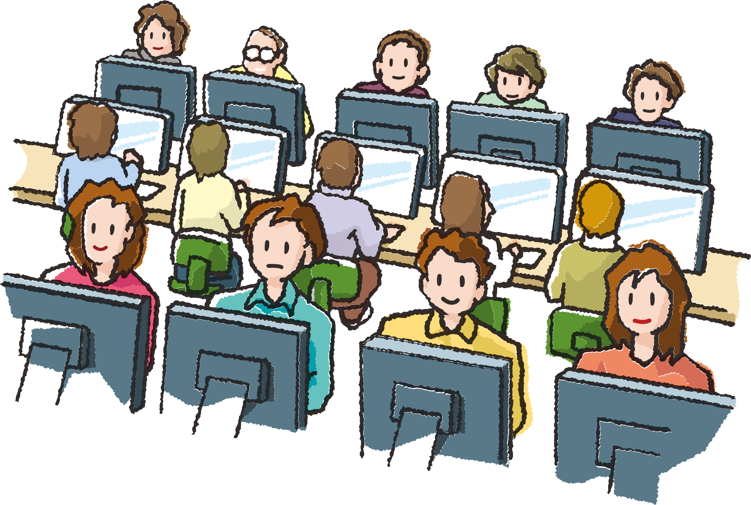 Computer users big image. Computers clipart team