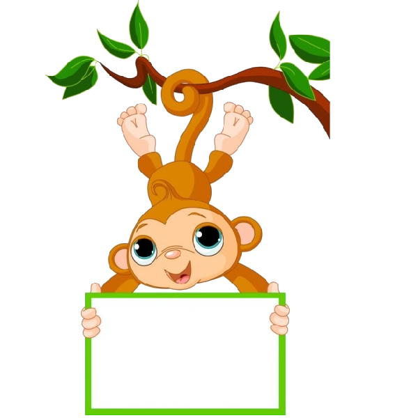 Cute funny cartoon baby. Tree clipart monkey