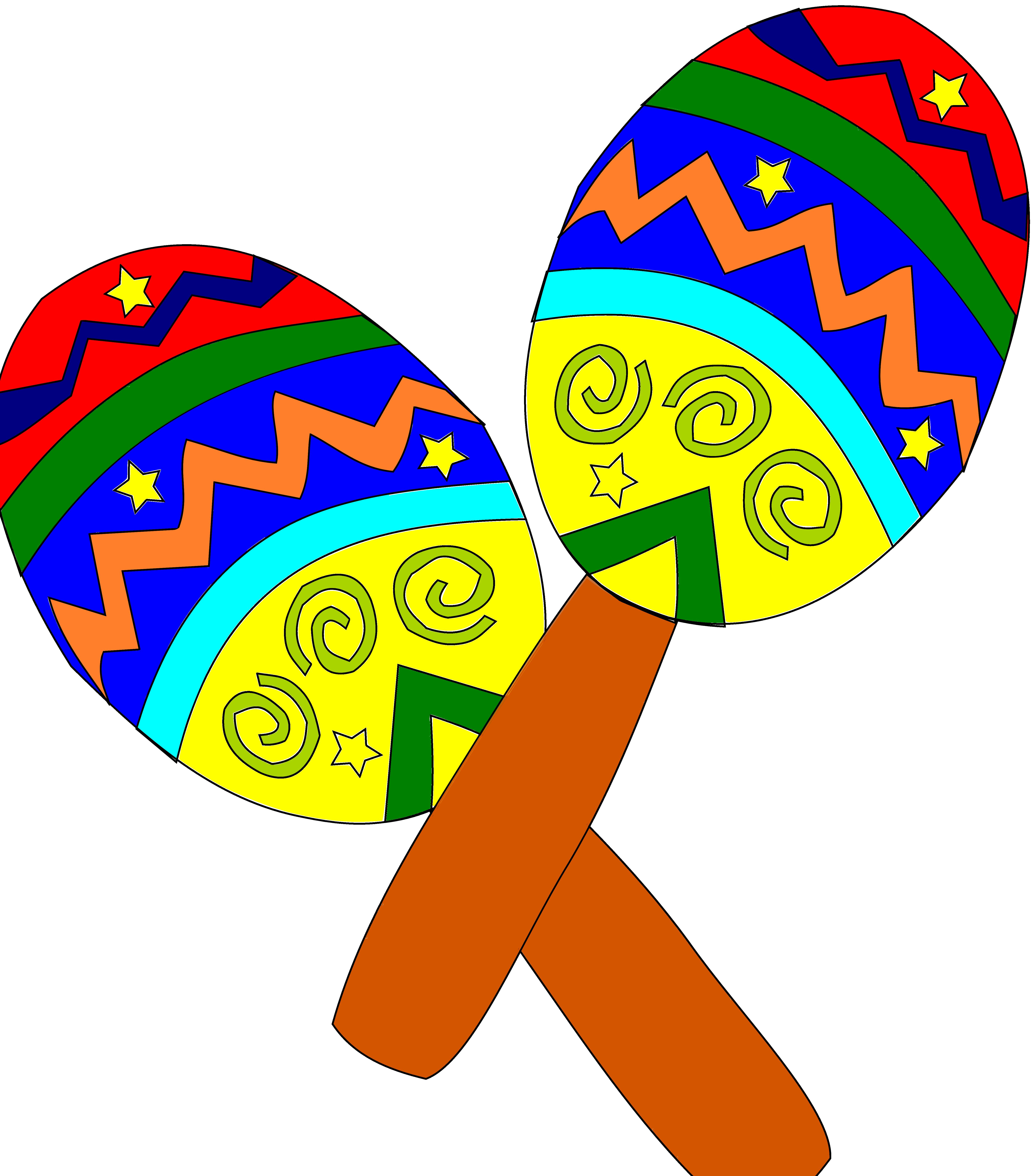 Festival clipart bunting. Sombrero and maracas free