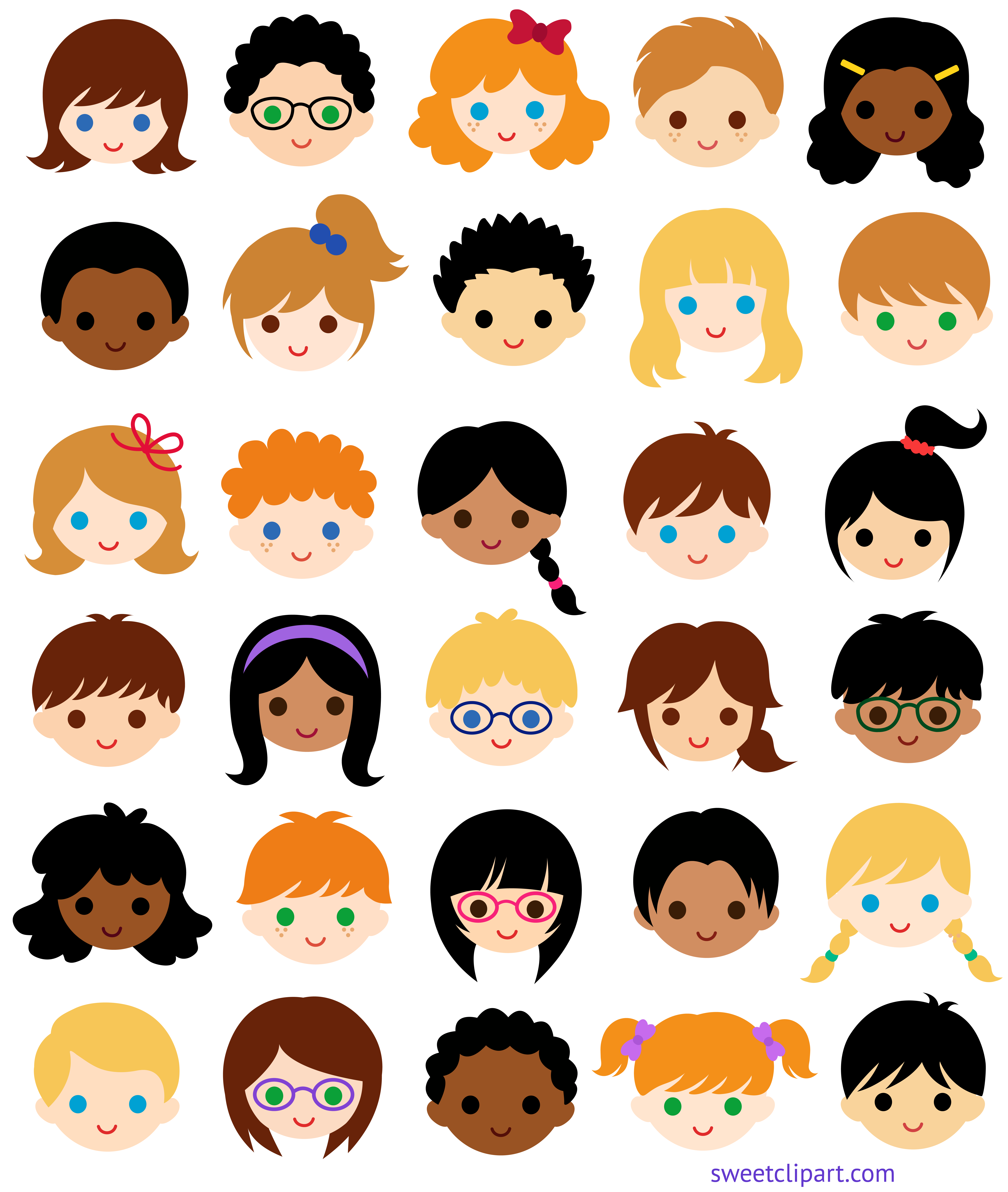 Clipart smile sweet smile. Kids faces classroom clip