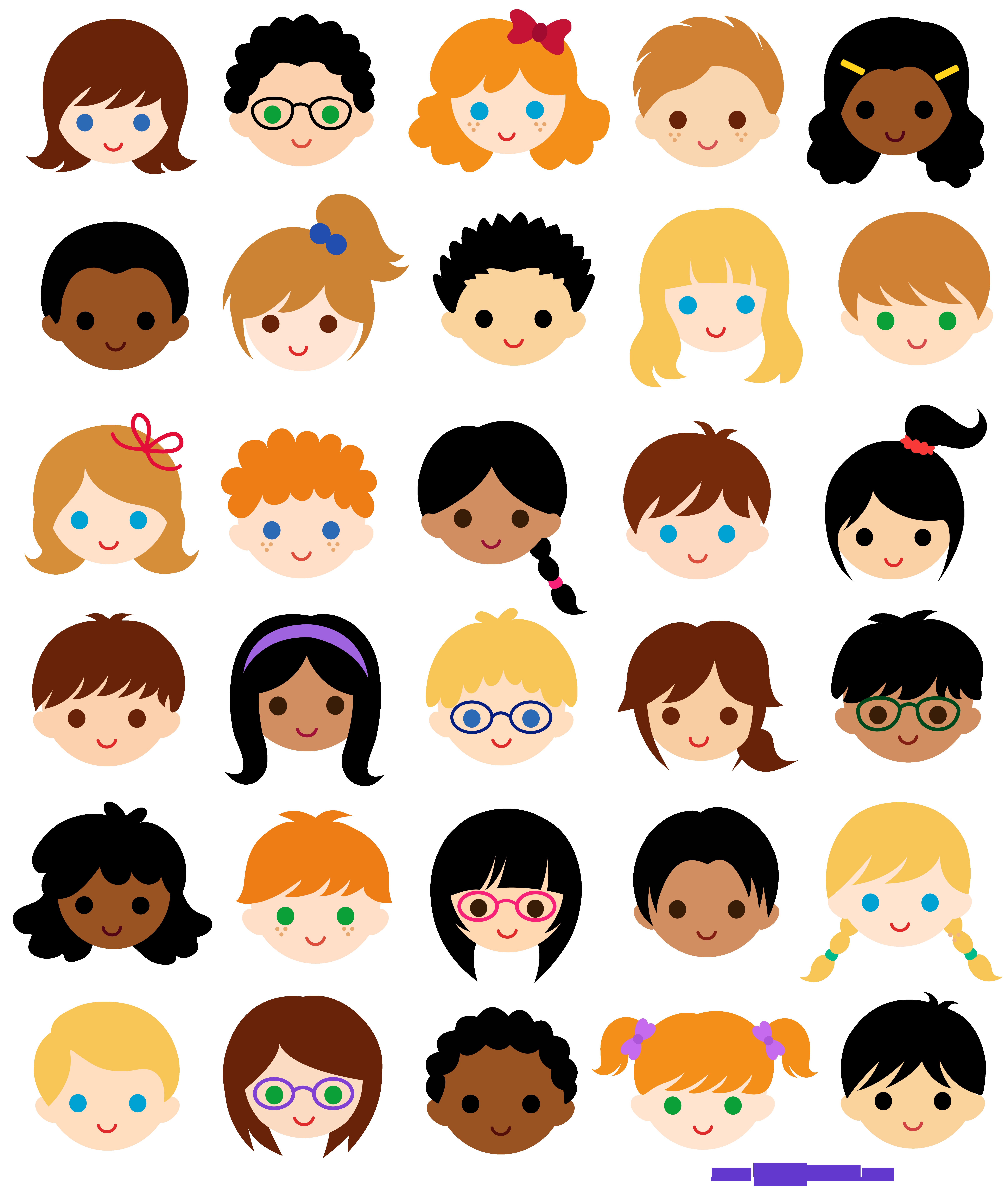 Faces clipart child face. Kids classroom clip art