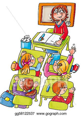 Stock illustration teacher illustrations. Class clipart lesson
