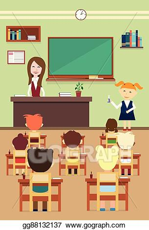 Vector school pupils and. Class clipart lesson