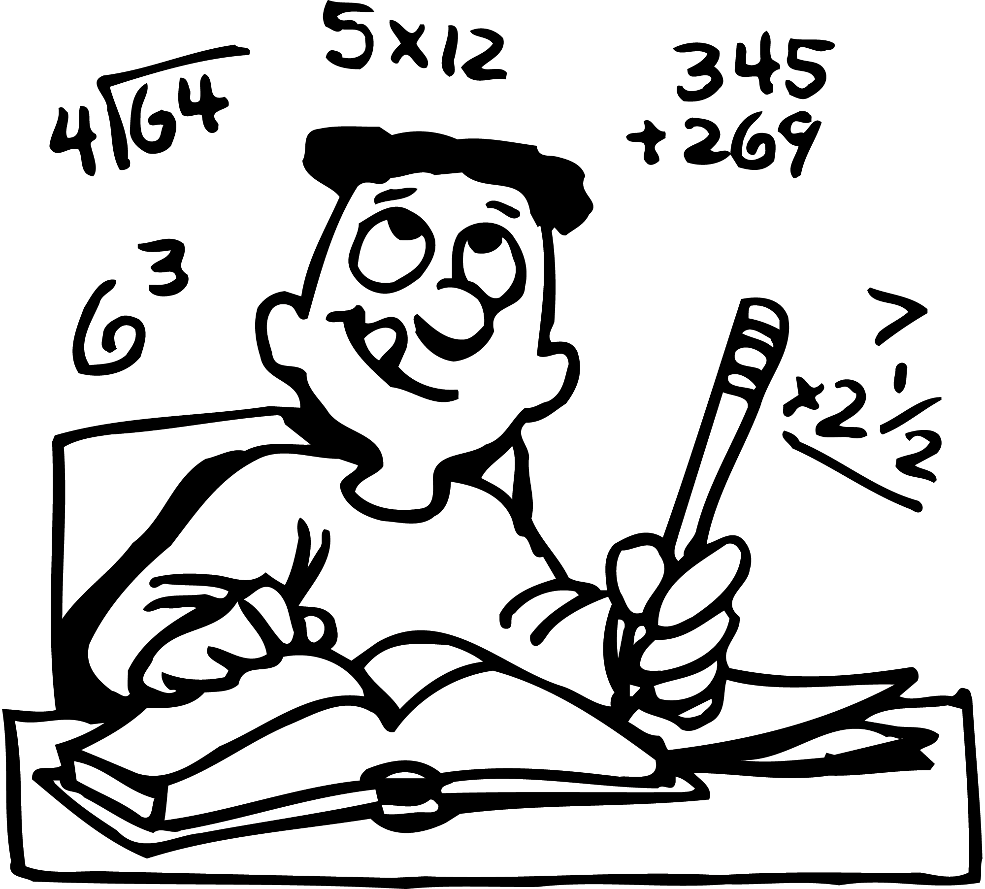 Math for classroom lessons. Pain clipart black and white