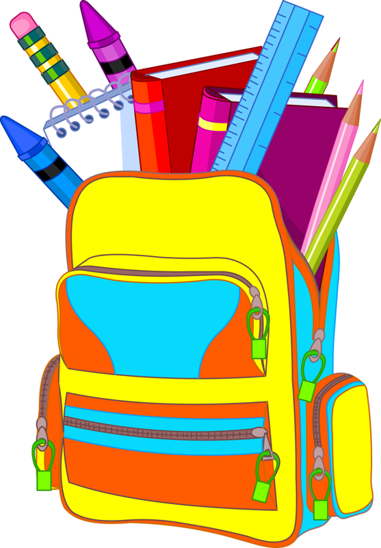 Clipart backpack notebook. Crayons ecole scrap couleurs