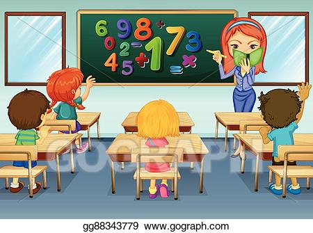Eps vector math teacher. Class clipart teaching