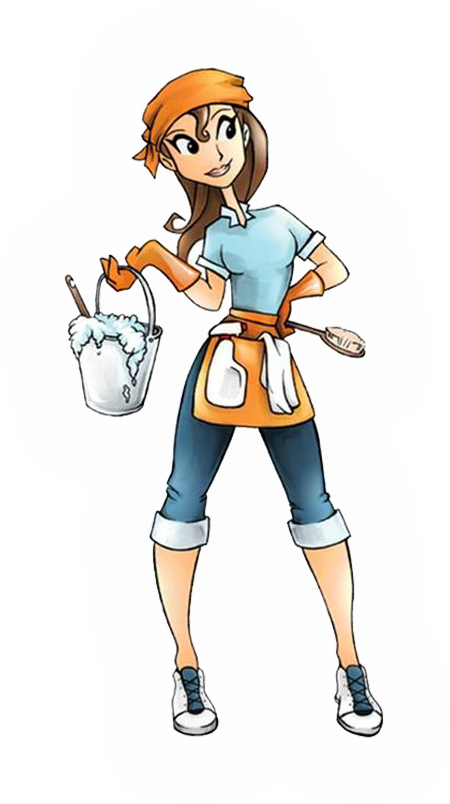 Easy breezy cleaning tips. Female clipart janitor