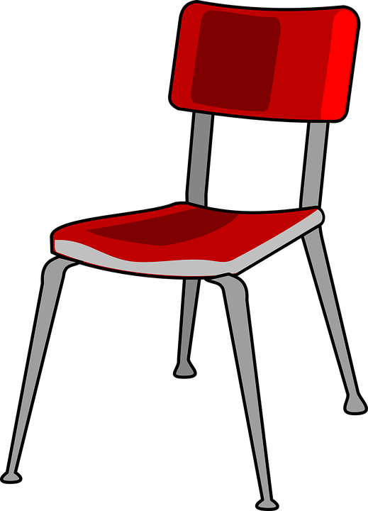 Chair line art red. Furniture clipart vector