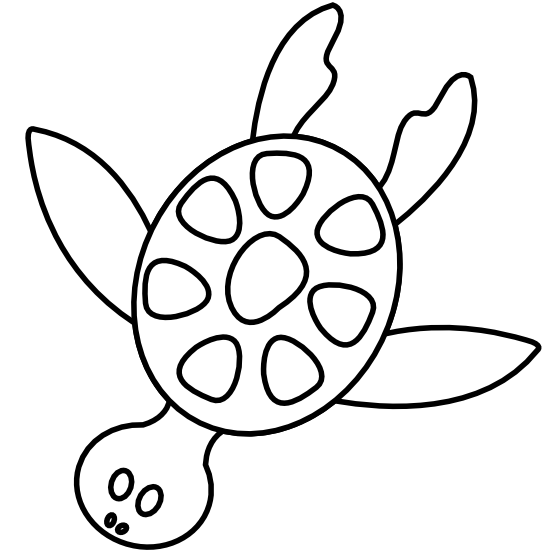 Turtle black and white. Planting clipart under sea