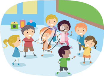 Illustration of kids playing. Classroom clipart boys