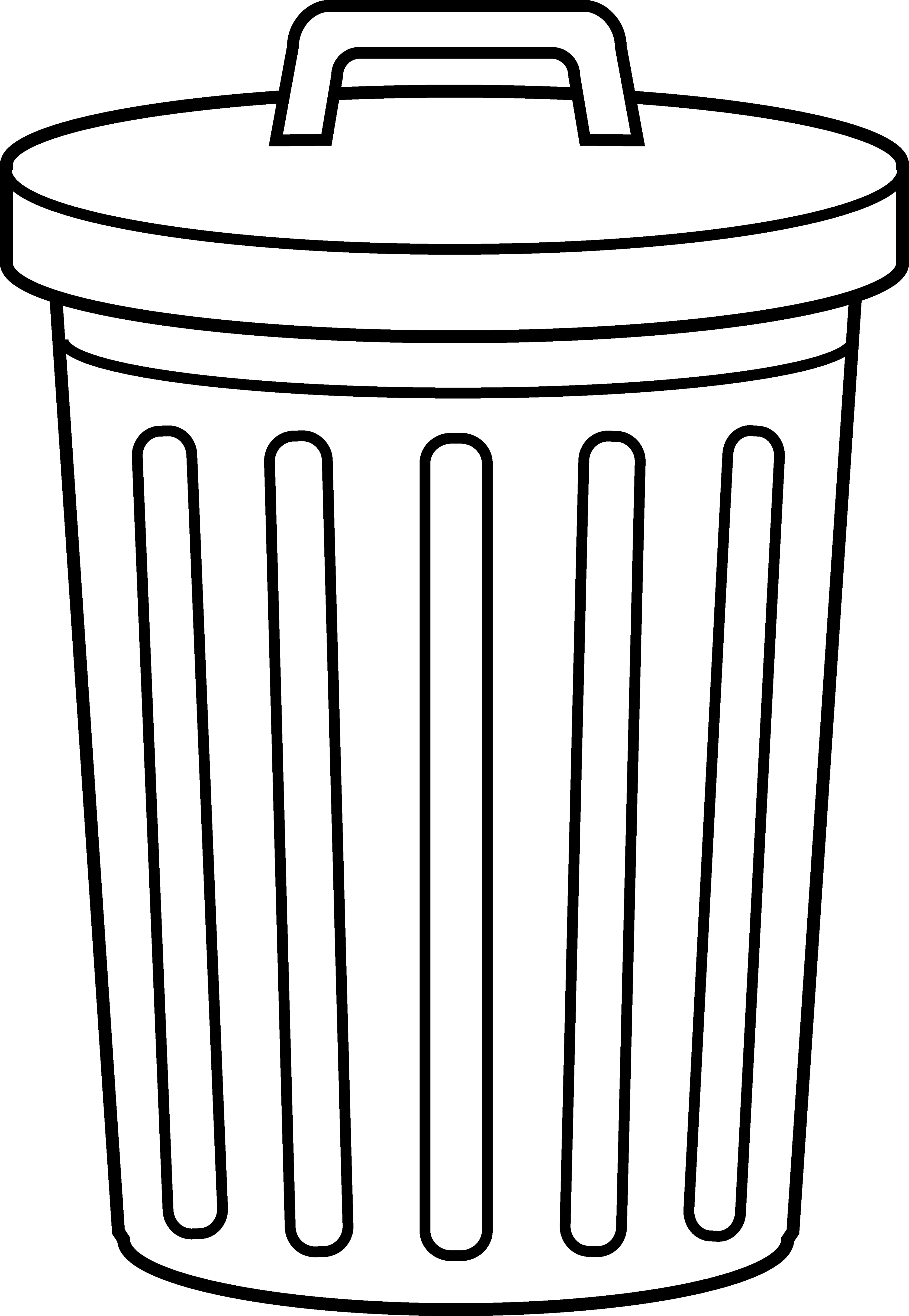 Outline clipart bin.  collection of trash