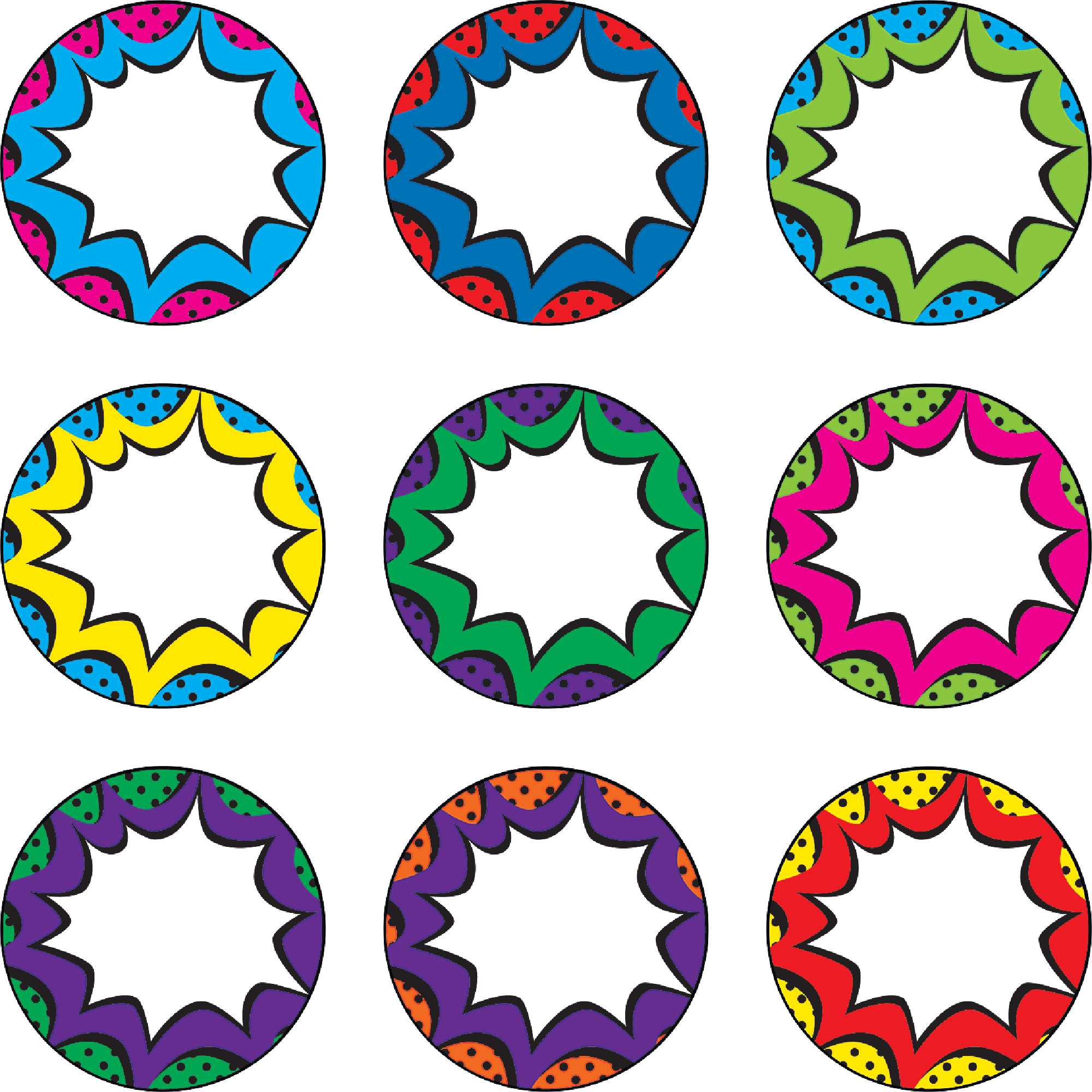 Superhero bursts magnetic accents. Clipart stars accent