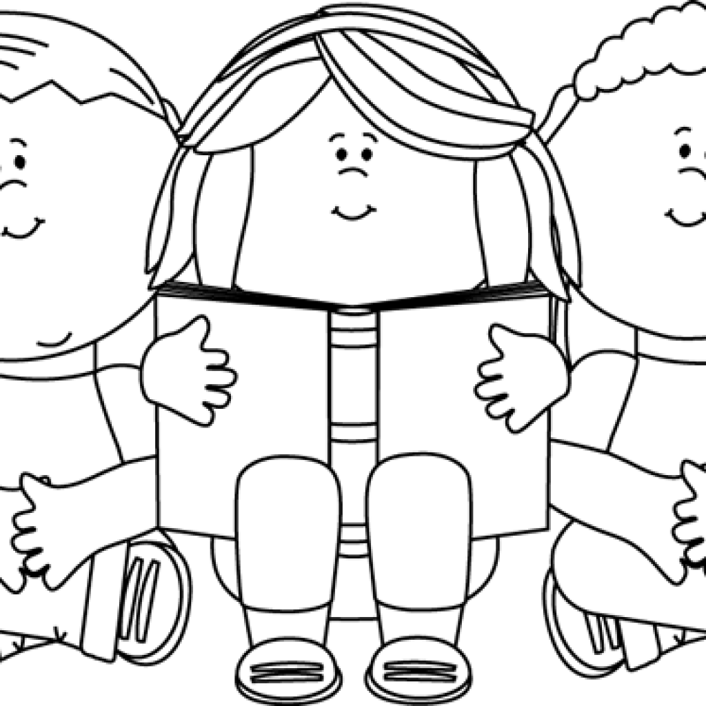 Classroom clipart outline. Child black and white