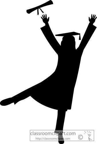 Graduate cap gown classroom. Graduation clipart silhouette