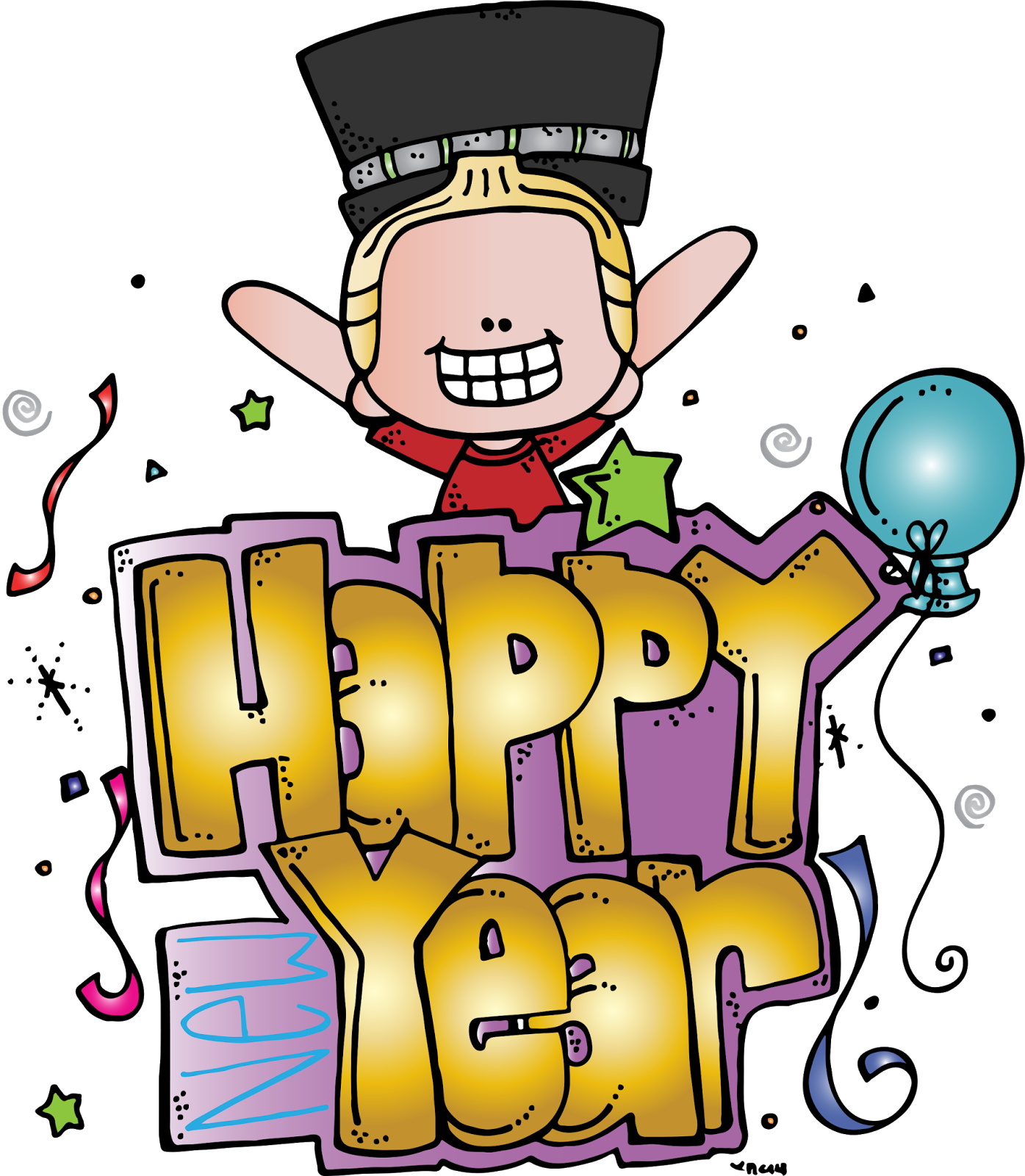 Melonheadz illustrating new year. Crayons clipart happy
