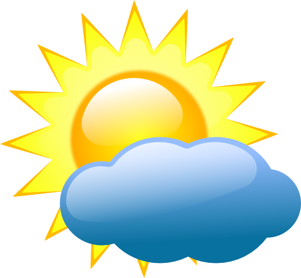 Summer sun and cloud. Sunny clipart rainy day