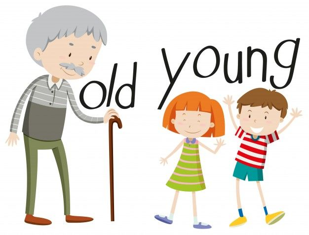 Opposite adjectives and preschool. Young clipart young old